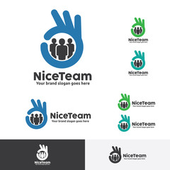 Great Team Job Logo Template with fingers symbol