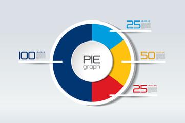 Pie round, circle graph,  chart. Simply color editable. 3D Infographics element.
