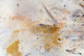 abstract painting with blurry and stained structure. metal rust effect with glitter grains. Painting on old paper.