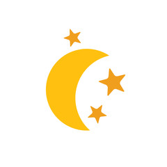 Yellow gold moon star flat web icon