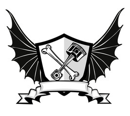 engine badge with batwings
