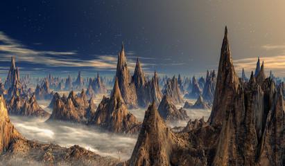 Spitze Stalagmitentürme im Nebel auf der Oberfläche eines Fantasy Planeten.