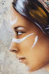 woman face and white tattoo, airbrush painting on paper, profile portrait.