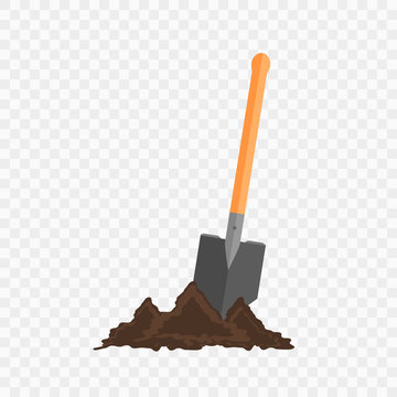 Sapper shovel in the ground. Gardening tool on checked background