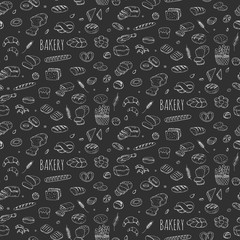 Seamless background hand drawn doodle Bakery set Cartoon bakery icon collection Rye bead Ciabatta Whole grain bread Bagel Sliced bead French baguette Croissant Vector illustration Sketchy bread Bakery