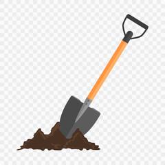 Fototapeta Shovel in the ground. Gardening tool on checked background.