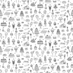 Seamless background hand drawn doodle Sweets set Vector illustration Sketchy Sweet food icons collection Isolated desert symbols Cupcake Macaron Chocolate bar Candy Cake Pie Pastry Lollipop Pastry
