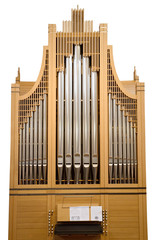 Wood church pipe organ isolated with music notes