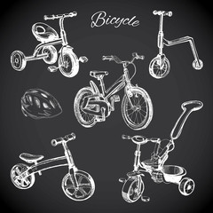 chalk board set with hand drawn bicycles and balance bike, helme