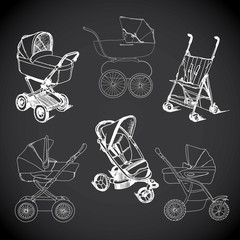set  hand drawn baby carriage, stroller, baby carrier, baby stro