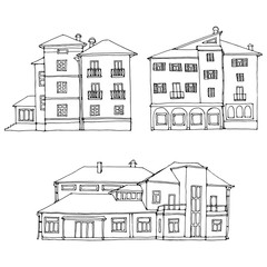 Set of historic old buildings graphical line art style. Vector illustration.
