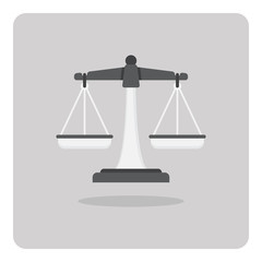 Vector of flat icon, Scales of justice on isolated background