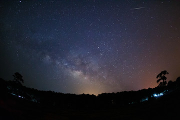 Milky Way Galaxy with fireball.Long exposure photograph.With gra