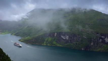 Wall Mural - panoramic view Geiranger fjord, Norway