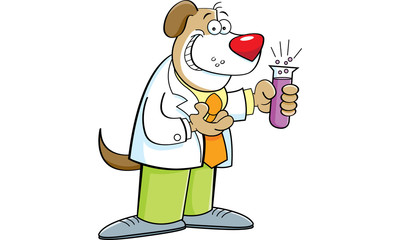 Cartoon illustration of a dog holding a test tube.