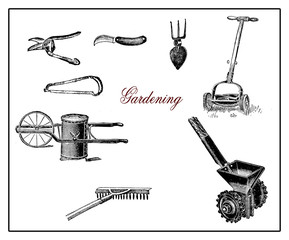 Vintage illustration, gardening and agriculture equipments