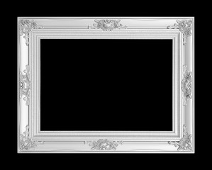 antique silver frame isolated on black background