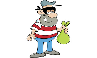 Cartoon illustration of a criminal holding a money bag.
