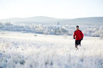 Man running at winter