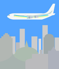 aircraft flying over the city