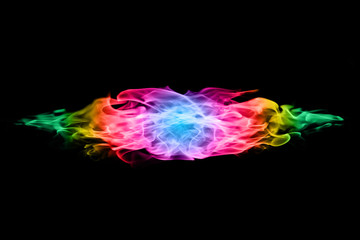 abstract colorful Fire flames on black background