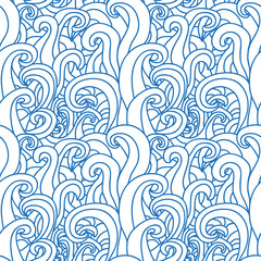 Abstract seamless pattern with abstract doodle waves.