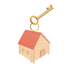 Keychain in the form of log houses and red roof and Golden key