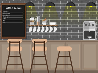 Modern Flat Design of coffee shop,coffee bar