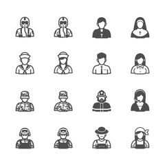 People and Occupation Icons with White Background