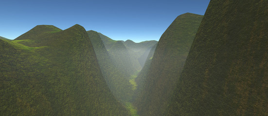 view of green gorge with high hills. The daytime with a blue sky and fog