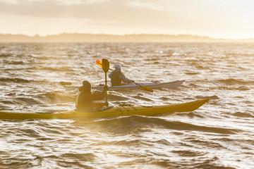 People kayaking on sea
