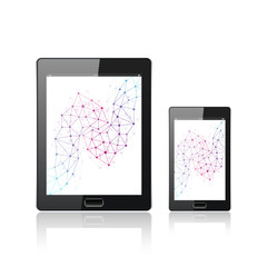 Modern digital tablet PC with mobile smartphone isolated on the white. Mobile application interface. Molecule and communication background. Vector Illustration