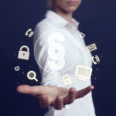 Business woman hand press web paragraph symbol button
