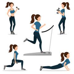 Woman home fitness set vector illustration