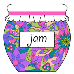 Colorful jam jar