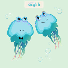 Cute smiling jellyfish. Print for children's wear, greeting cards, menu, wallpaper, decoration. Vector Illustration