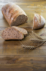 Crusty cereal bread in a rustic composition