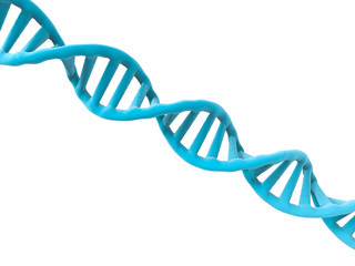 blue dna structure on white background