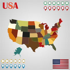 United States map with separated states, flag and geo