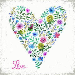 Vector illustration of watercolor floral heart and text love. Colorful floral heart. Love or spring card.