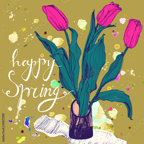 Decorative Card With Hand Drawn Tulips And Text Happy Spring