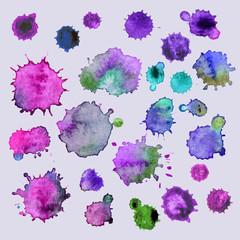 Spray vector paint, watercolor splash background,colorful paint drops texture. Watercolor composition for scrapbook elements or print.