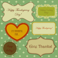 Set of thanksgiving banners and simple patterns with maple leaves