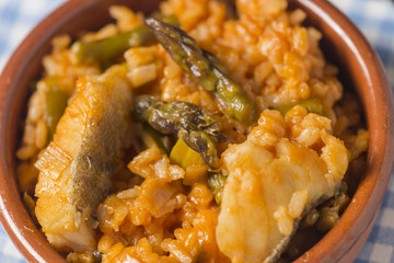 Rice with asparagus and cod