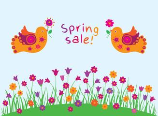 Spring sale. Spring background with flowers and birds. Doodles, sketch for your design. Vector illustration.