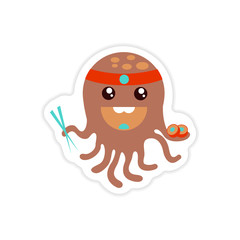 stylish paper sticker on white background octopus chef