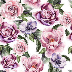 Watercolor pattern with flowers anemon, peonies,roses,  buds and petals.