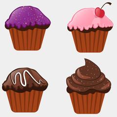 delicious cupcakes, cartoon