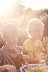Two boys having dinner in garden