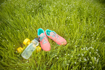 sports equipment on a background of green grass. Healthy lifestyles concept